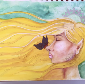 watercolour and ink profile face lesson